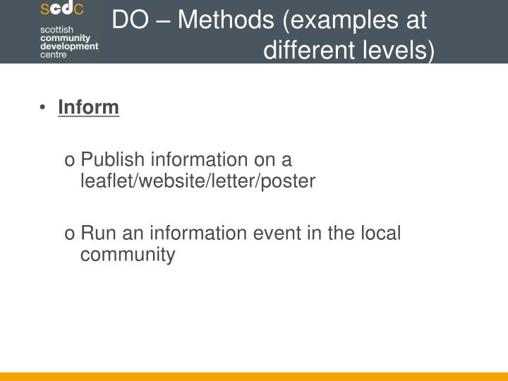 DO – Methods (examples at