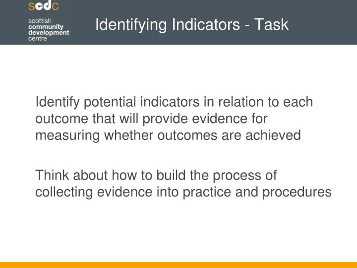 Identifying Indicators - Task