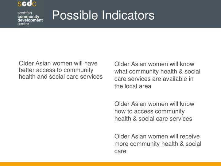 Older Asian women will have better access to community health and social care services