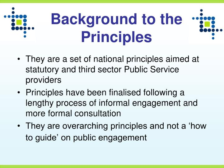 Background to the Principles