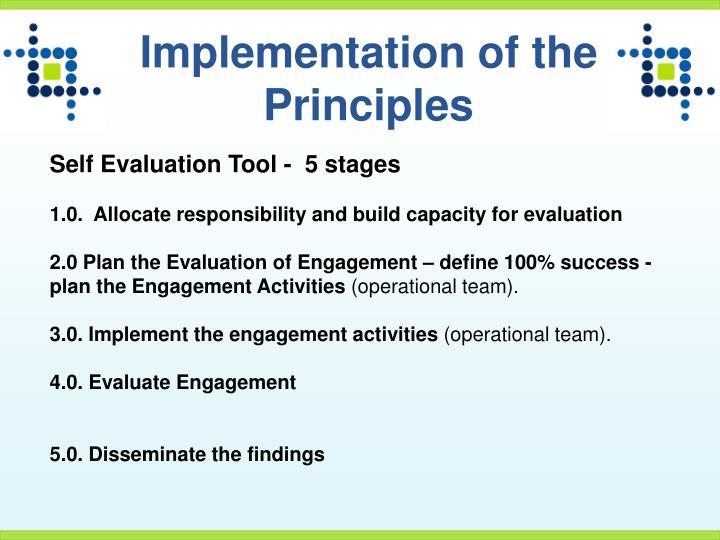 Implementation of the Principles