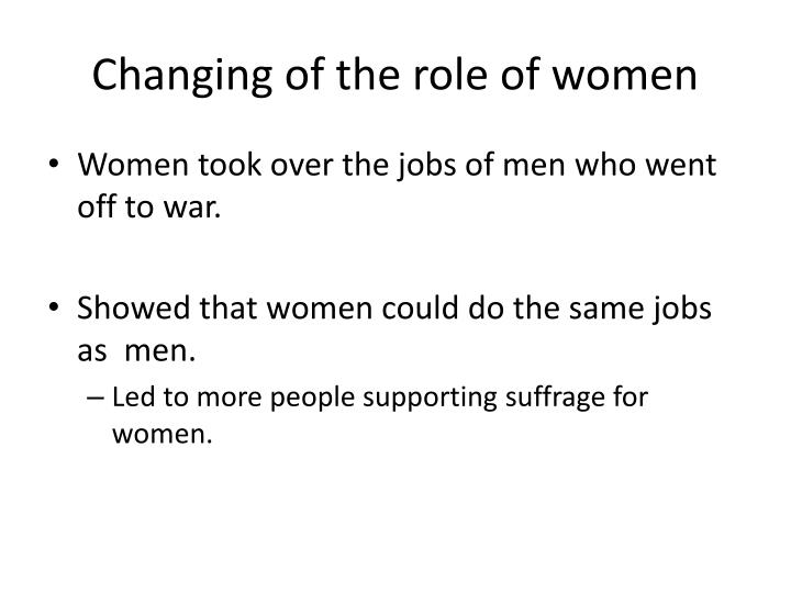 Changing of the role of women