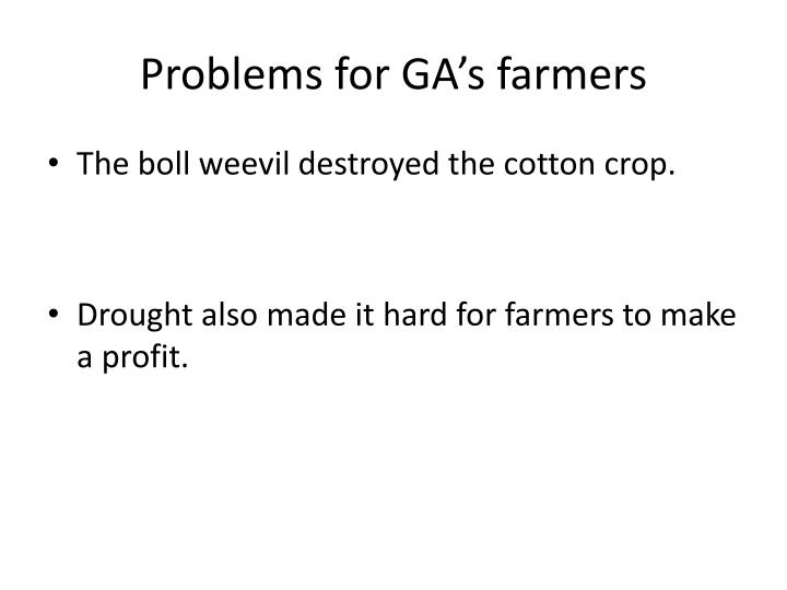 Problems for GA's farmers