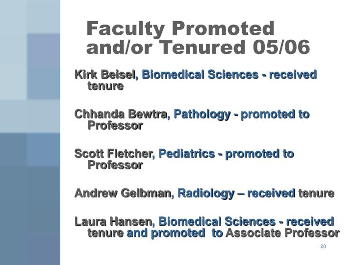 Faculty Promoted and/or Tenured 05/06