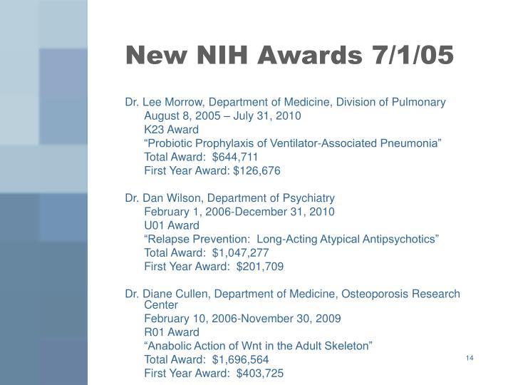 New NIH Awards 7/1/05