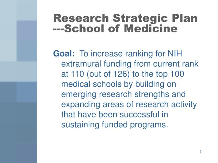 Research Strategic Plan ---School of Medicine