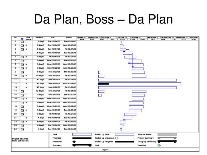 Da Plan, Boss – Da Plan
