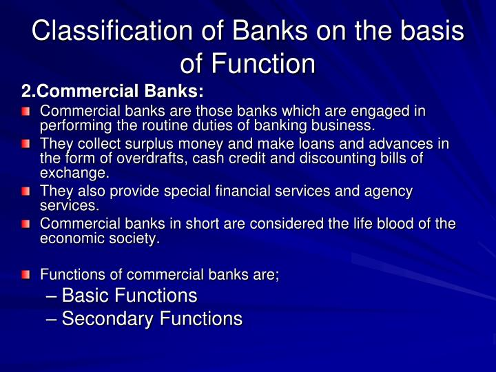 Classification of Banks on the basis of Function
