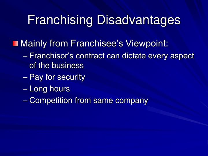 Franchising Disadvantages