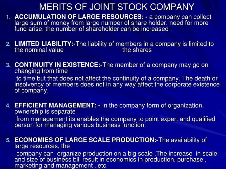 MERITS OF JOINT STOCK COMPANY