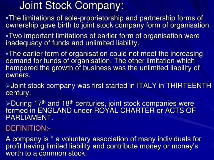 Joint Stock Company: