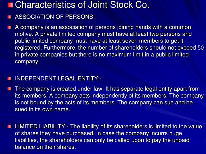 Characteristics of Joint Stock Co.
