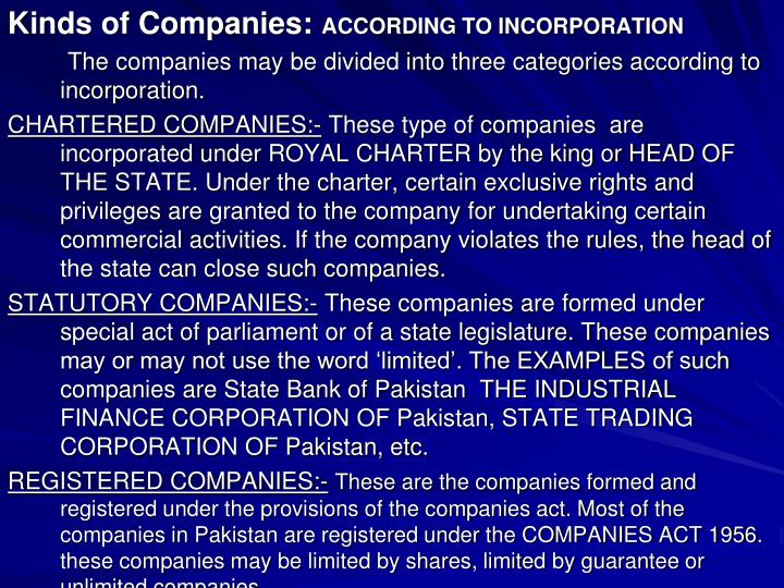 Kinds of Companies: