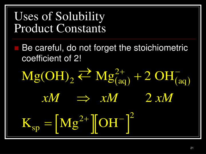 Uses of Solubility