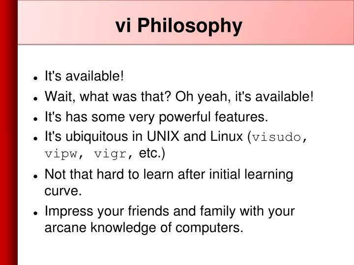 vi Philosophy
