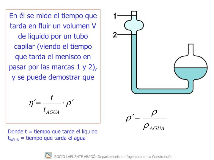 En l se mide el tiempo que tarda en fluir un volumen V de liquido por un tubo capilar (viendo el tiempo que tarda el menisco en pasar por las marcas 1 y 2), y se puede demostrar que