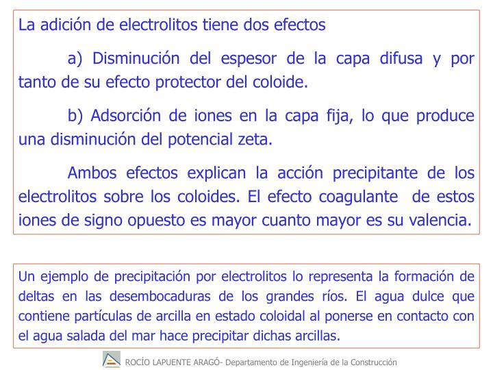 La adicin de electrolitos tiene dos efectos