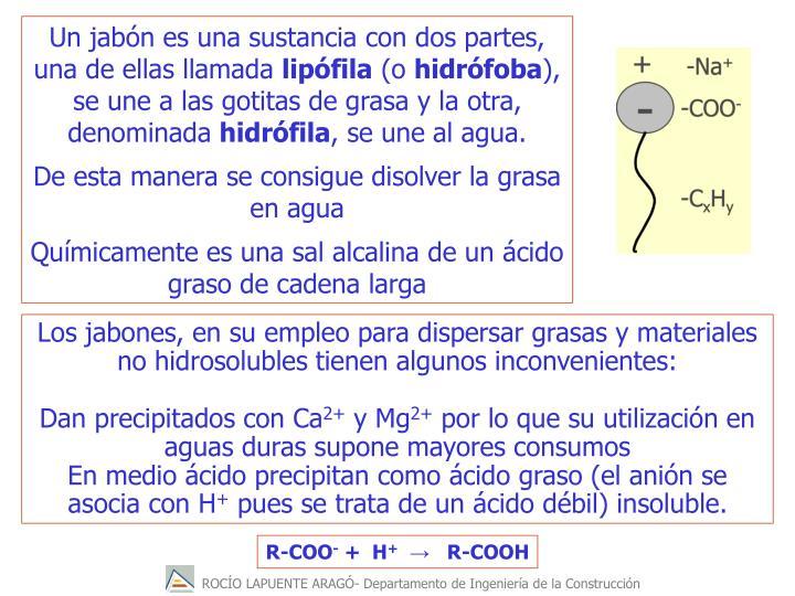 Un jabn es una sustancia con dos partes, una de ellas llamada