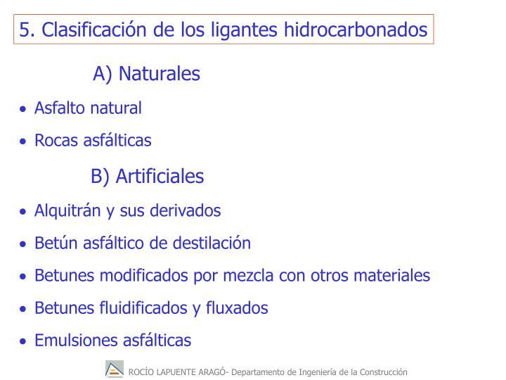 5. Clasificación de los ligantes hidrocarbonados