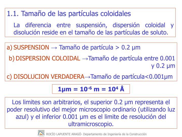 1.1. Tamaño de las partículas coloidales