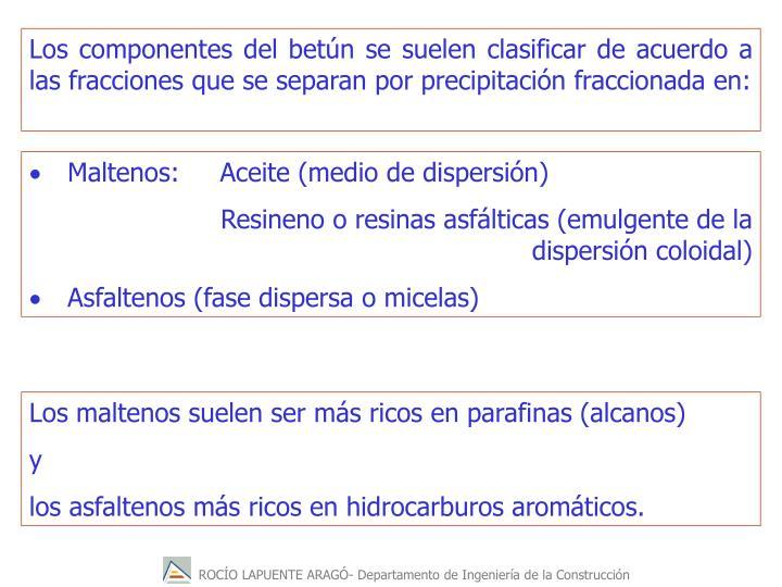 Los componentes del betún se suelen clasificar de acuerdo a las fracciones que se separan por precipitación fraccionada en: