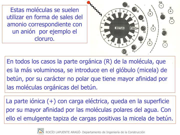 Estas moléculas se suelen utilizar en forma de sales del amonio correspondiente con un anión  por ejemplo el cloruro.