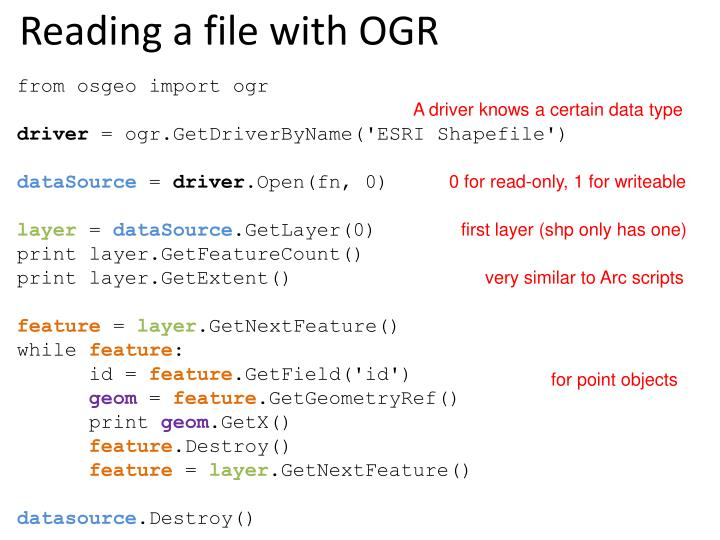 Reading a file with OGR