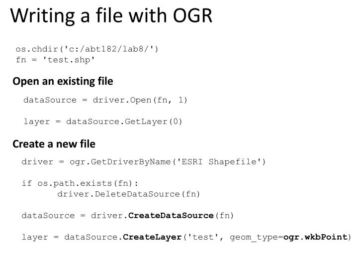 Writing a file with OGR