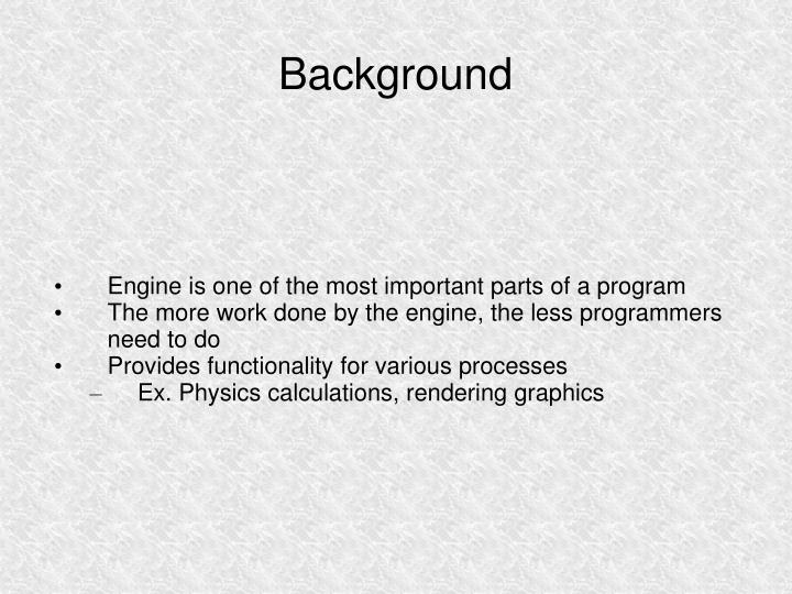 Engine is one of the most important parts of a program