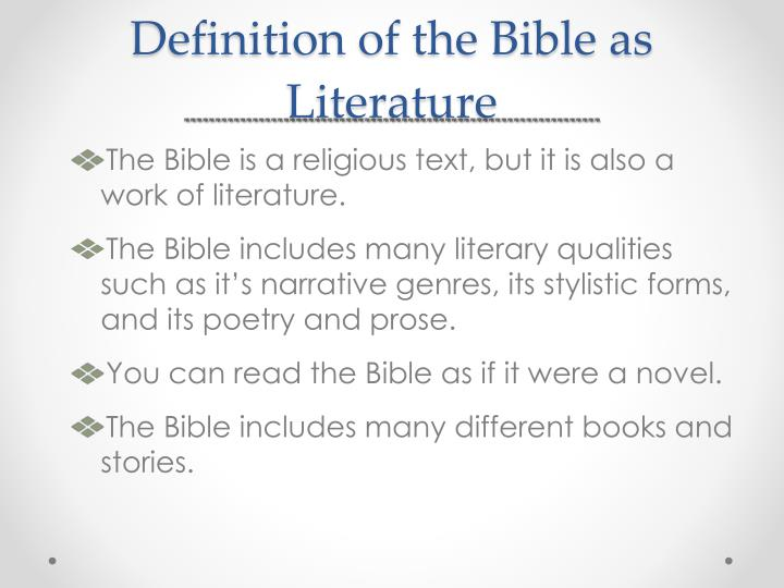 Definition of the Bible as Literature