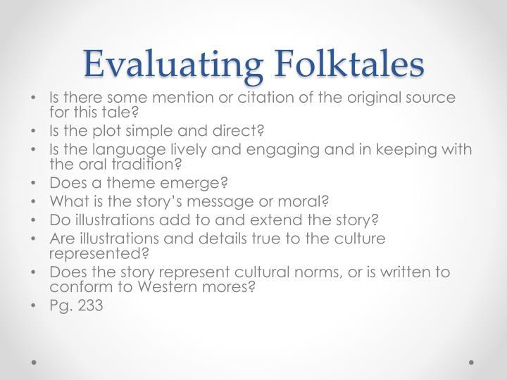 Evaluating Folktales