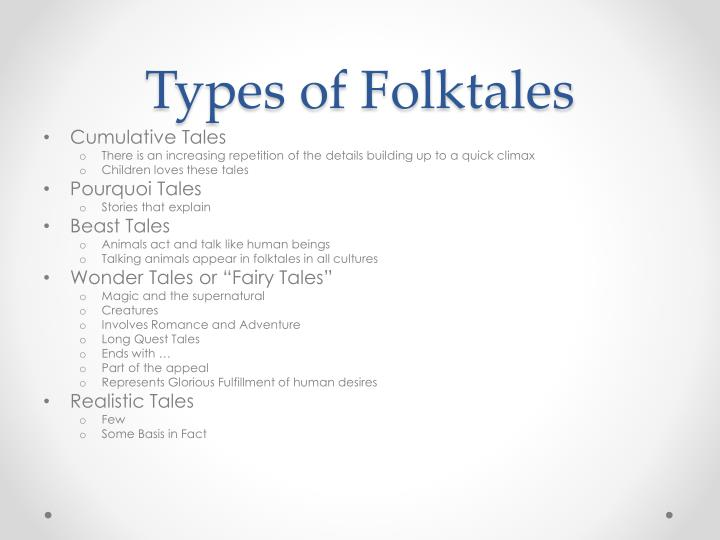 Types of Folktales