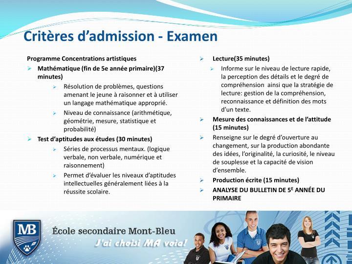 Critères d'admission - Examen