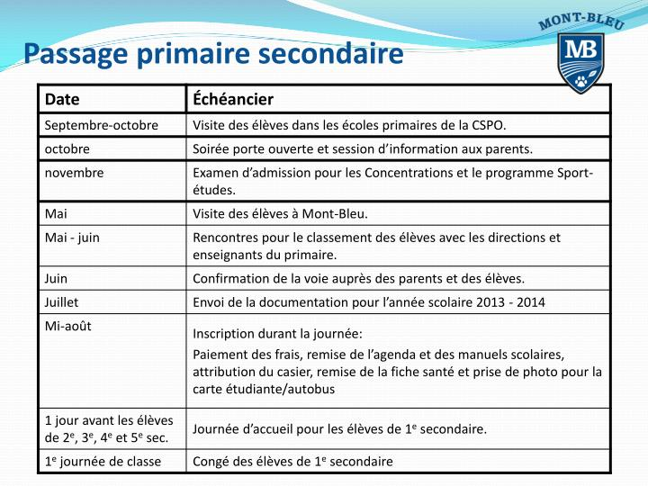 Passage primaire secondaire