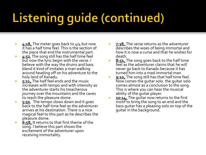 Listening guide (continued)