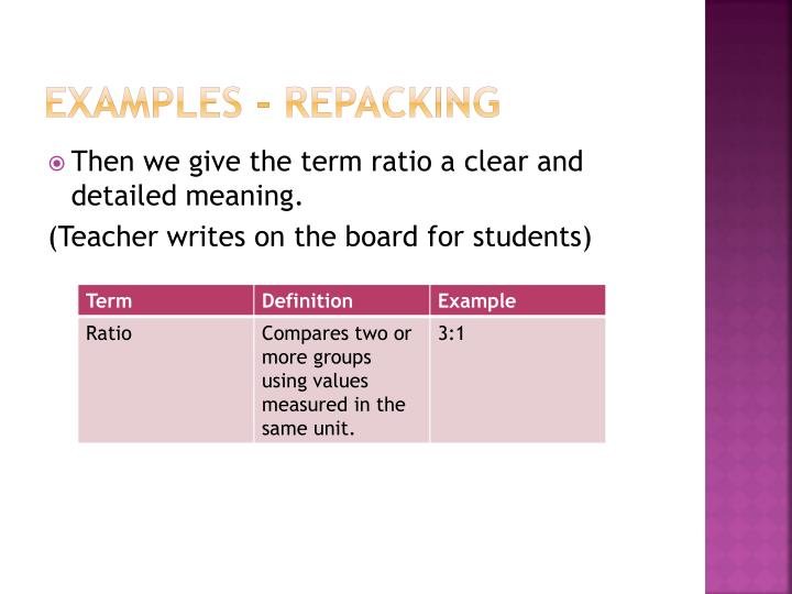 Examples - Repacking