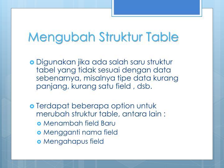 Mengubah Struktur Table