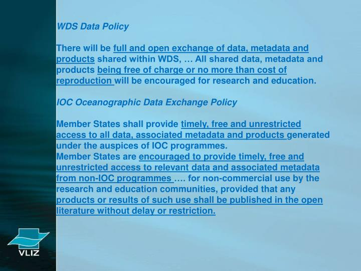 WDS Data Policy
