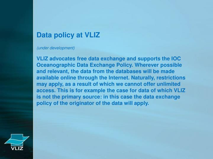 Data policy at VLIZ