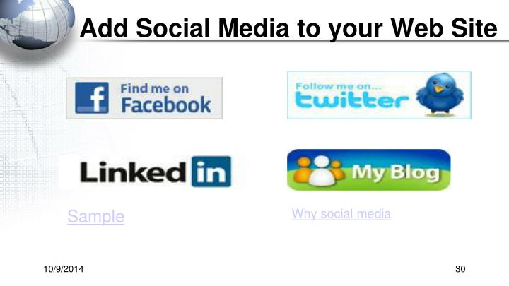 Add Social Media to your Web Site