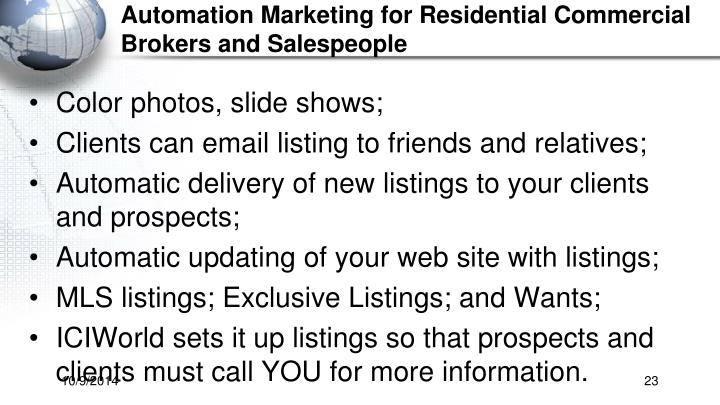 Automation Marketing for Residential Commercial Brokers and Salespeople