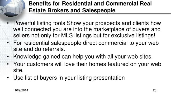 Benefits for Residential and Commercial Real Estate Brokers and Salespeople