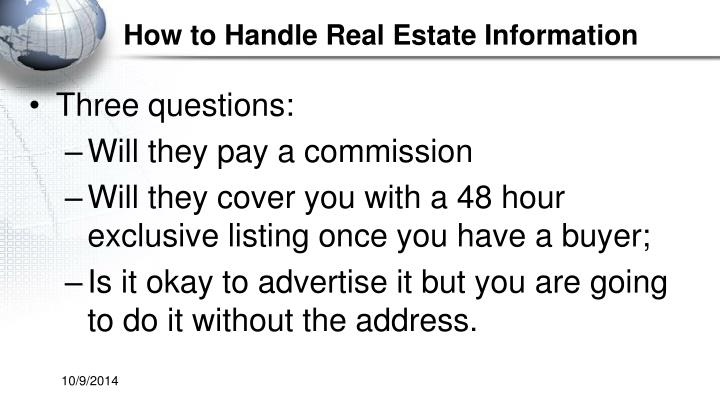 How to Handle Real Estate Information