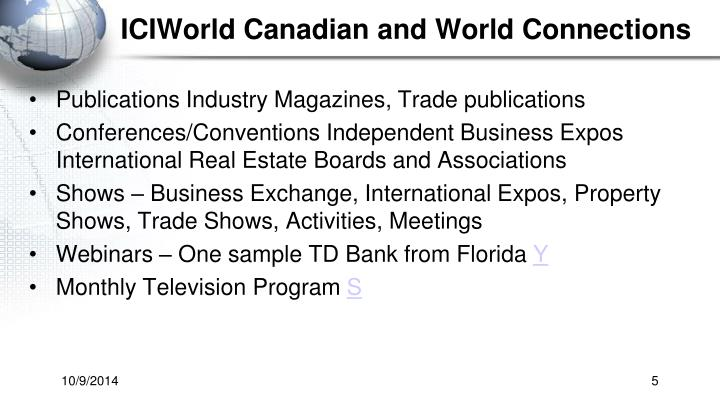 ICIWorld Canadian and World Connections