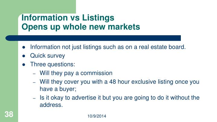 Information vs Listings