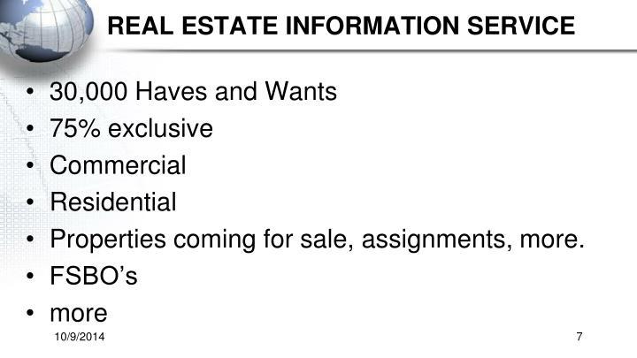 Real estate information service