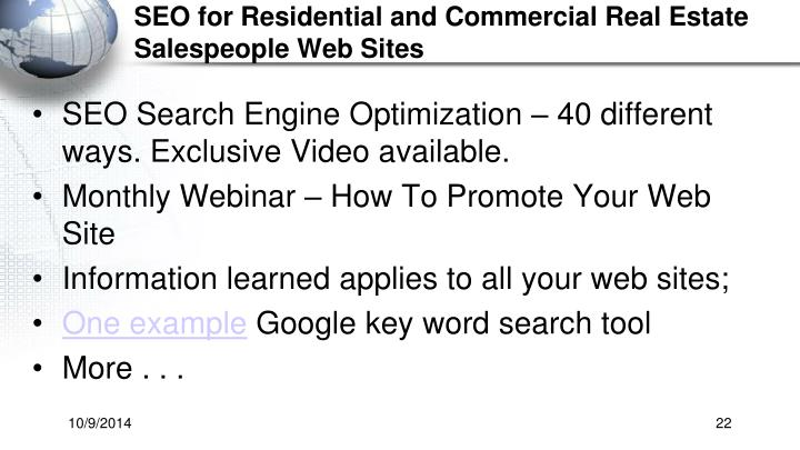 SEO for Residential and Commercial Real Estate Salespeople Web Sites