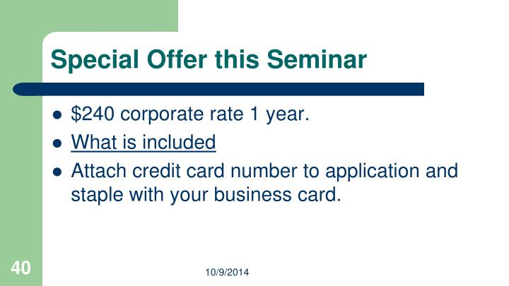 Special Offer this Seminar
