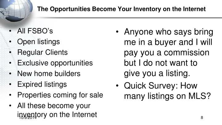 The Opportunities Become Your Inventory on the Internet