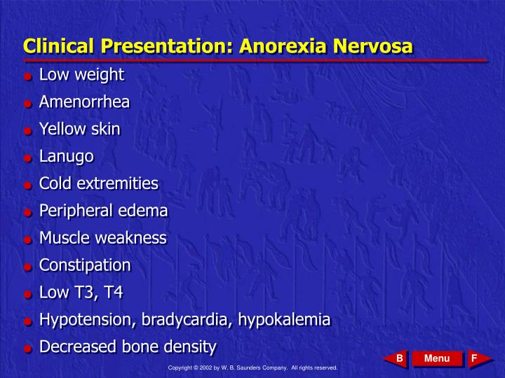 Clinical presentation anorexia nervosa